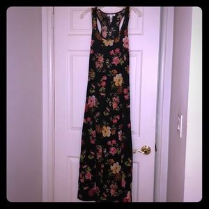 Black and pink floral maxi dress size small